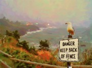 Seagull Pastels Posters - Depoe Bay Security Guard Poster by Methune Hively