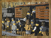 Star Of  David Paintings - Deportation from Warsaw to Treblinka July 22 1942 by Josh Bernstein