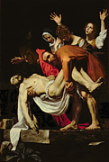 Christian Framed Prints - Deposition Framed Print by Michelangelo Merisi da Caravaggio