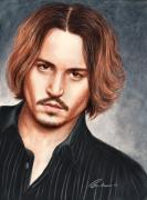 Celebrities Drawings Metal Prints - Depp Metal Print by Bruce Lennon