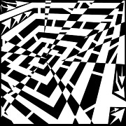 Depressed Drawings Prints - Depressed Square Jagged Attack Maze Print by Yonatan Frimer Maze Artist