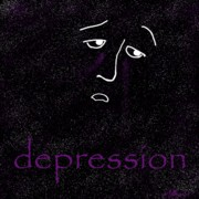 Sad Mixed Media Prints - Depression Print by Methune Hively