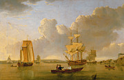 Sailing Ships Painting Framed Prints - Deptford on Thames with a Distant View of Greenwich Framed Print by John of Hull Ward