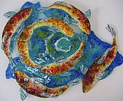 Fish Glass Art Originals - Depth Vortex by Michelle Rial