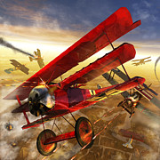 Dogfight Prints - Der Rote Baron Print by Kurt Miller