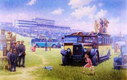 Old Cars Paintings - Derby day Epsom by Mike  Jeffries