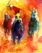 Watercolor  Drawings Posters - Derby Horse race racing Poster by Svetlana Novikova