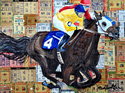 Wild Horse Mixed Media Prints - Derby Tickets 4 Print by Michael Lee