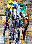 Wild Horse Mixed Media Prints - Derby tickets out of the gate Print by Michael Lee