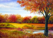 Trees Paintings - Derbyshire Autumn by Ann Marie Bone