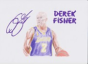 Lakers Drawings Framed Prints - Derek Fisher Framed Print by Toni Jaso