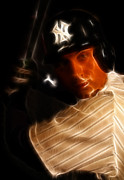 League Prints - Derek Jeter - New York Yankees - Baseball  Print by Lee Dos Santos