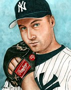 Athletes Painting Prints - Derek Jeter  Print by Bruce Lennon