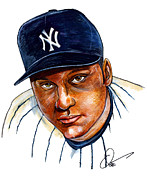 Baseball Drawings - Derek Jeter by Dave Olsen