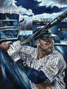 Shortstop Painting Framed Prints - Derek Jeter Framed Print by David Courson