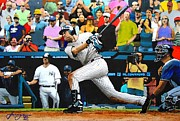 Baseball Portraits Prints - DEREK JETER delivers the 3000th hit - Yankee Stadium - July 9th 2011 Print by Dan Haraga