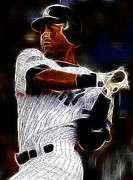 Derek Jeter Framed Prints - Derek Jeter New York Yankee Framed Print by Paul Ward