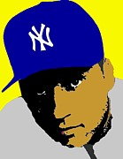 Derek Jeter Drawings Metal Prints - Derek Jeter  Metal Print by Paul Van Scott