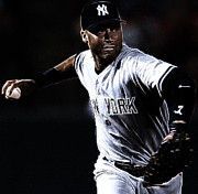 Yankees Shortstop Posters - Derek Jeter Poster by Paul Ward
