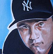 Baseball Game Paintings - Derek Jeter Portrait by Mikayla Henderson