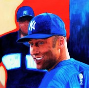 Yankees Shortstop Posters - Derek Jeter Poster by Shirl Theis