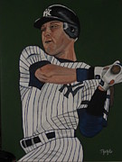 Baseball Uniform Painting Metal Prints - Derek Jeter Metal Print by Tammy Rekito
