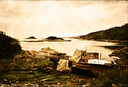 Wreck Photo Prints - Derelict boat in Outer Hebrides Print by Jasna Buncic