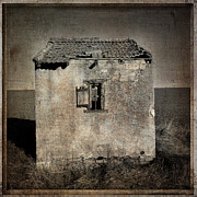Old Houses Prints - Derelict hut  textured Print by Bernard Jaubert