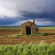 Ruinous Prints - Derelict stone shed in Limagne. Auvergne. France. Europe. Print by Bernard Jaubert