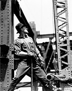 Crane Metal Prints - Derrick man   Empire State Building Metal Print by LW Hine