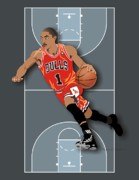 Chicago Bulls Prints - Derrick Rose 1 Print by Walter Neal