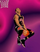Chicago Bulls Prints - Derrick Rose 3 Print by Walter Neal