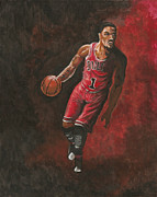 Dunk Framed Prints - Derrick Rose Framed Print by Kerstin Carrion