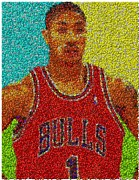Nba Mixed Media Posters - Derrick Rose Skittles Mosaic Poster by Paul Van Scott