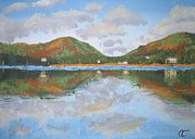 Hill District Painting Posters - Derwent Water Poster by Claire Fenwick