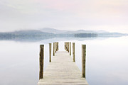 Derwent Reservoir Prints - Derwent Water Jetty On A Misty Morning Print by Cornelia Doerr