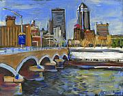Skylines Paintings - Des Moines Skyline by Buffalo Bonker