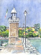 Nautical Print Drawings - Desanzano Lighthouse and Marina on Southern coast of Lake Garda Italy by Carol Wisniewski
