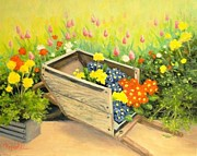 Garden Scene Paintings - Descanso Gardens Flower Cart by Carol Reynolds