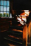 Wooden Stairs Framed Prints - Descending light Framed Print by Keith Gantos