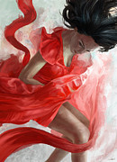 Red Dress Posters - Descension Poster by Steve Goad