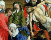 Mary Magdalene Metal Prints - Descent from the Cross Metal Print by Rogier van der Weyden