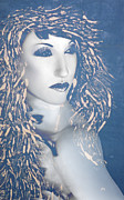 Beautiful Woman Mixed Media Prints - Desdemona Blue - Self Portrait Print by Jaeda DeWalt