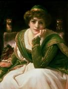 Chin On Hand Paintings - Desdemona by Frederic Leighton