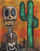 Lowbrow Painting Framed Prints - Desert Framed Print by  Abril Andrade Griffith