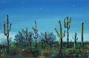 Night-scape Paintings - Desert Blue by Frances Marino