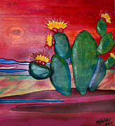 Desert Pyrography Metal Prints - Desert cactus Metal Print by Mike Holder