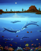 Desert Wildlife Paintings - Desert Dolphins Close  by Lance Headlee