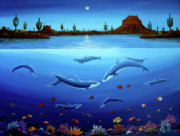 Desert Wildlife Paintings - Desert Dolphins by Lance Headlee