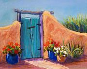 Blue Pastels Posters - Desert Gate Poster by Candy Mayer